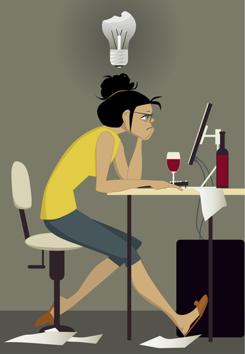 struggle female writer at computer cartoon Depositphotos_46225929_s-2015